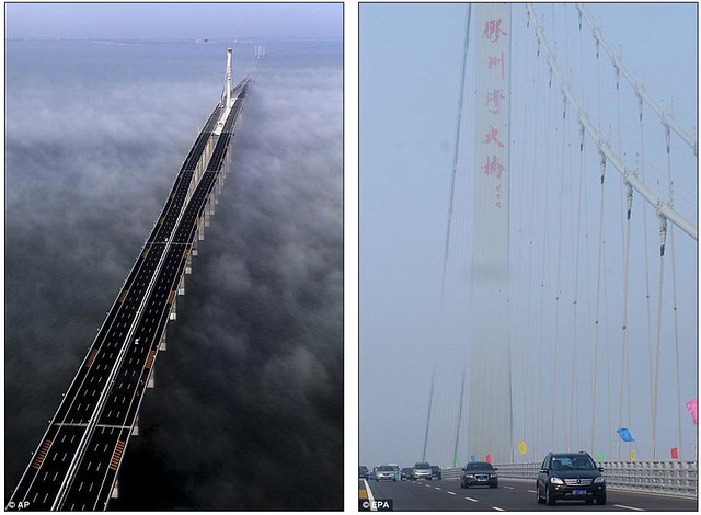 That is a £1bn bridge too far World's longest sea bridge opens to traffic in China... but it will only hold the title for five years  3