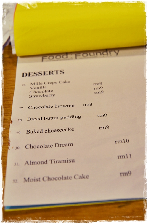 Desserts List @ Food Foundry