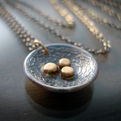 Silver Nest with Gold Eggs Necklace