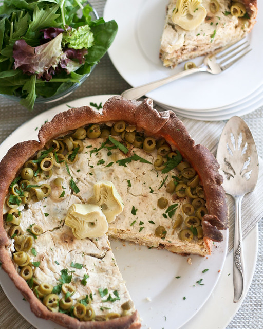 Artichoke and Green Olive Savory Cheesecake