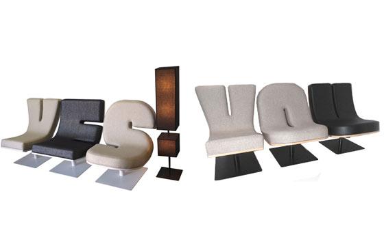 sillas con forma de letras