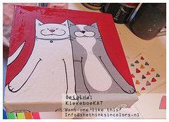 kiekeboekat 1.0 BIG (shethinksincolors) Tags: cats art home colors katten kat paintings kitty card greetingcard gatto gatti acrylics acryl schilderijen kleur kiekeboe sendasmile shethinksincolors