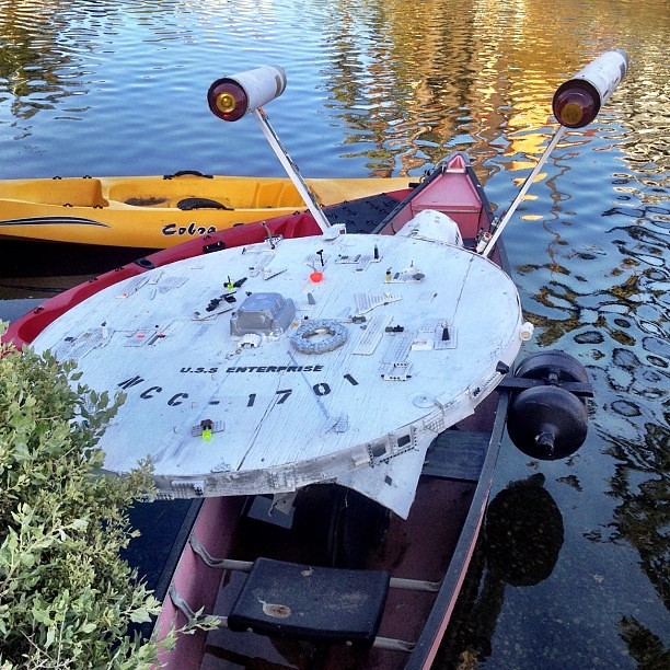 The USS ENTERPRISE in a canoe. That is all.