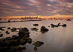 Skyline at Sunset (GluehweinEffects) Tags: city sunset skyline port boats bay rocks australia melbourne victoria williamstown yachts philip