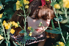 Photo22_18 (PoppyLunaCarter) Tags: flowers girl field yellow female makeup style teen crop teenager shorts brunette headband checked