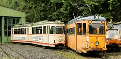 BMB General view of two tramcars in the depot. (Franky De Witte - Ferroequinologist) Tags: de eisenbahn railway estrada streetcar tramway chemin fer strassenbahn spoorwegen ferrocarril ferro ferrovia     tramlijn