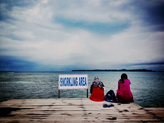 putri island (secondfloor - silvia izzi) Tags: sea indonesia island women mare sitting snorkeling deck jakarta putri sittin uploaded:by=flickrmobile brooklynfilter flickriosapp:filter=brooklyn