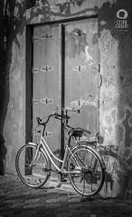 The Bike (Crusat) Tags: door blackandwhite blancoynegro bike bicycle creek puerta nikon dubai uae bicicleta emirates souk olddubai d7100