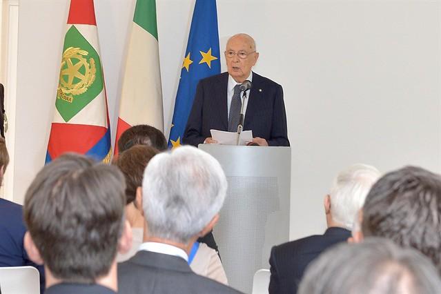 Il Presidente Giorgio Napolitano nel corso del suo intervento al comune di Monfalcone