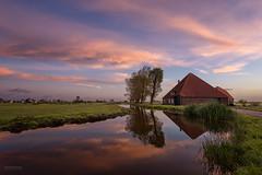Dutch farm (pieter.struiksma) Tags: dutch farm oostknollendam noordholland netherlands landscape sunrise clouds sky water reflections