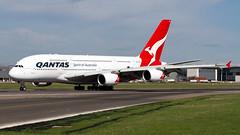 Qantas A380 Departure Roll. (spencer.wilmot) Tags: egll heathrow lhr airside ramp a380 airbus rolling takeoff runway london longhaul widebody heavy super huge massive plane qf qfa qantas aviation airplane aircraft airliner airport kangaroo vhoqd jet jetliner departure 27r