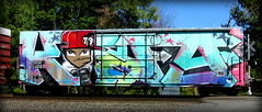 king157 (timetomakethepasta) Tags: king157 rtm freight train graffiti art boxcar wholecar ssw golden west service mom happy birthday character old school photography new york benching selkirk