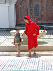 Fes Morocco (npangere) Tags: red fountain child muslim islam mother mosque morocco fes