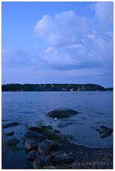 Saltsjbaden 02:56 (Papa Razzi1) Tags: morning blue sea water sunrise rocks sweden stockholm nightlight saltsjbaden baggensfjrden nikond3100 restaurantholmen