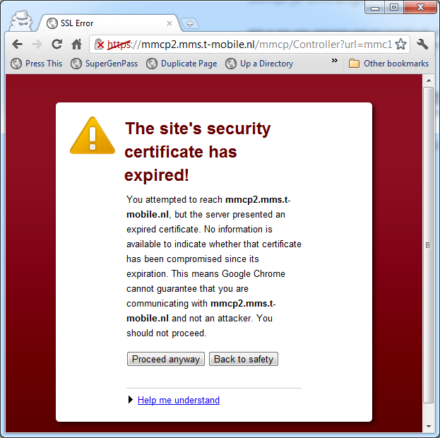 Tmobile Nl Fail Ssl Error Because Of Expired Certificate When