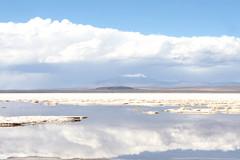 Uyuni salt flat reflections (floresjax) Tags: travel blue mountains reflection clouds america de south salt bolivia adventure flats sel salar uyuni deset