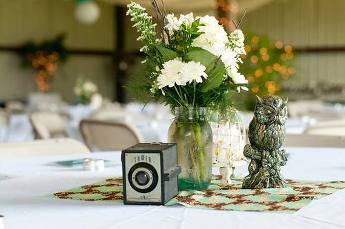 Vintage Rustic Wedding Reception Table Decor