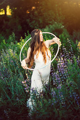 Field of Gold (NatVon Photography) Tags: portrait girl angel hoop humboldt purple tulips nation longhair fairy mystical arcata hooping whimsical onesie headdress hoopdance ficklehill harmonicthreads