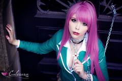Moka Akashiya (Rosario+Vampire) (Calssara) Tags: anime cute sexy stockings cross vampire manga chain greeneyes collar pinkhair blazer schooluniform moka rosariovampire rosariotovampire mokaakashiya