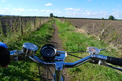 Cycling a Bridleway (cycle.nut66) Tags: cycle ride cycling raleigh esquire steel all chrome huret spedo speedometer handlebars grips sturmey archer shifter three speed field ploughed grass bridleway longwick autimn day sunny sunshine dynohum headlamp bell panasonic lumix lx3 leica summicron