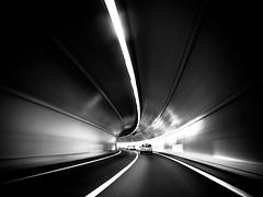 time travel (Sandy...J) Tags: olympus tunnel tempo speed geschwindigkeit light licht lines linien blackwhite bw black darkness dark dunkelheit street sw schwarzweis monochrom mono fotografie photography noir wall wand white blur blurred verschwommen verwischt