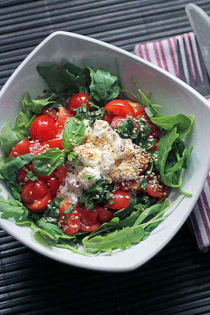 Ricotta cheese, Tomatoes and Rocket