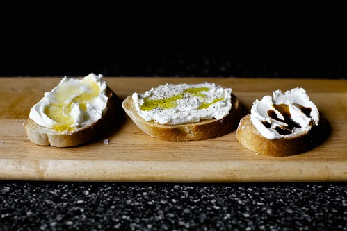 ricotta crostini, three simple ways