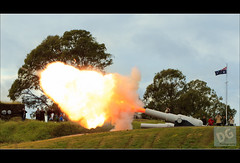 Number 6 Gun, Sunday Morning firing. (David de Groot) Tags: people panorama canon military sunday australia brisbane queensland cannon lytton australianflag historicalreenactment historyalive muzzleflash canonef70200mmf28lisusm 64lbgun number6gun 1dmkiv ha2011