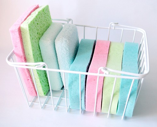 Basket of cleaning sponges