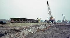 Silica sand for Pilkington Glass by rail. March 1969 (Brit 70013 fan) Tags: pilkington pilkingtonglass sthelens narrow gauge railway silica sand lancashire reclamation motorrail simplex ruston bucyrus crane
