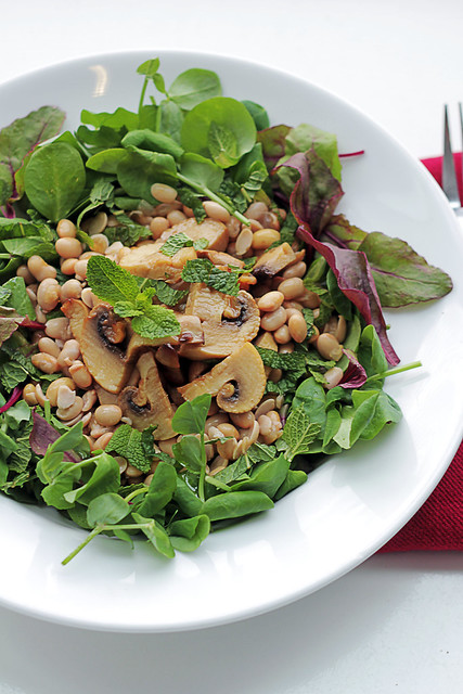 Mushrooms, Soyan Beans and Mint