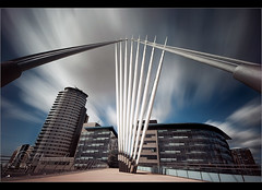 Just a matter of time........ (Chrisconphoto) Tags: longexposure bridge sky architecture manchester salfordquays wideangle motionblur filter weldingglass mediacity dramaclouds