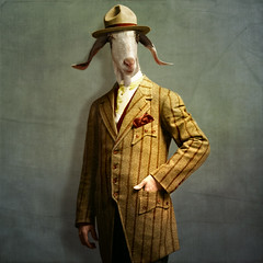 The honest man - L'honnête homme (Martine Roch) Tags: portrait hat animal costume character surreal goat photomontage surrealist elegant cintage caractère martineroch flypapertextures