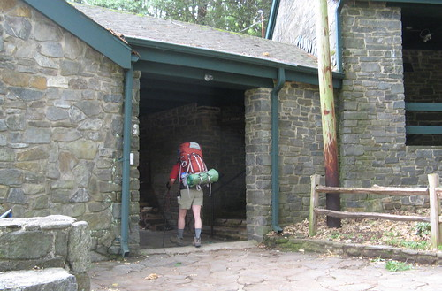 Appalachian Trail passing under Mountain Crossings breezeway