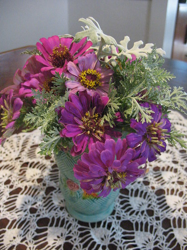 Zinnias with Artemesia