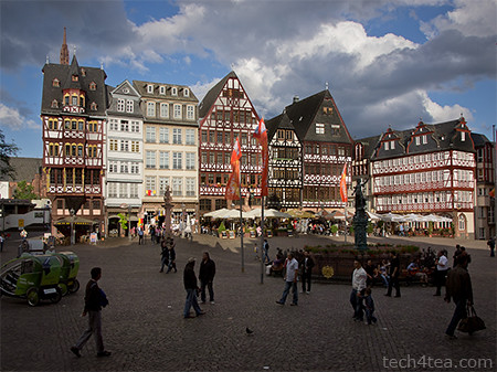 The Römerberg is the old city square of Frankfurt. On the eastern side is a group of half-timbered houses called the Ostzeiles.