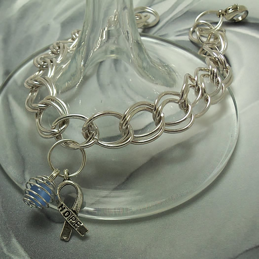 Thyroid Disease, Scleroderma, Prostate Cancer Awareness Charm Bracelet
