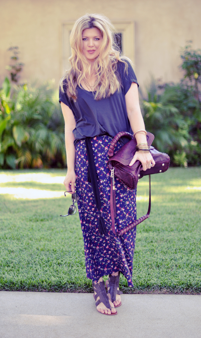 90s floral print skirt with sandals