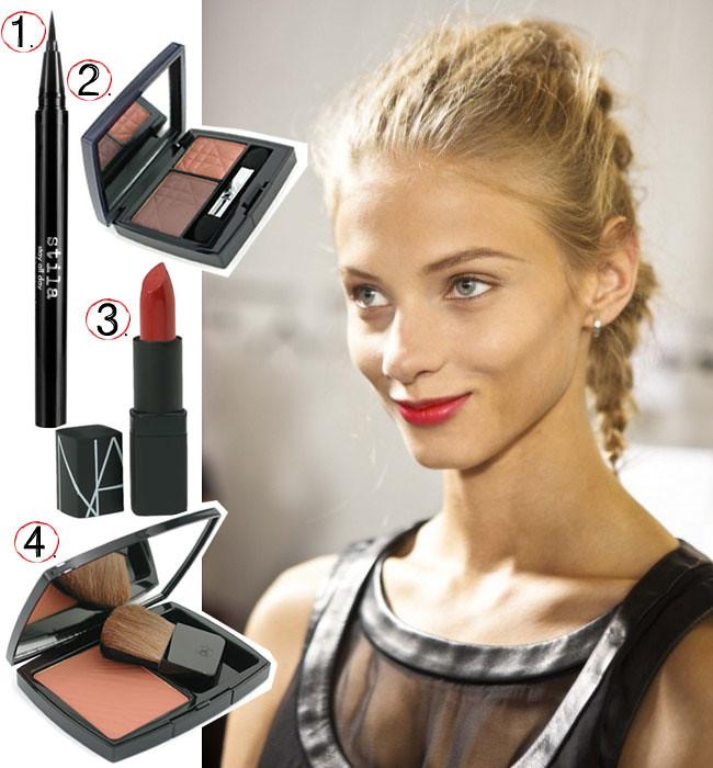 Anna Selezneva backstage during Fashion Week, Makeup Beauty, Chanel bronze powder, Dior eyeshadow, Nars lipstick