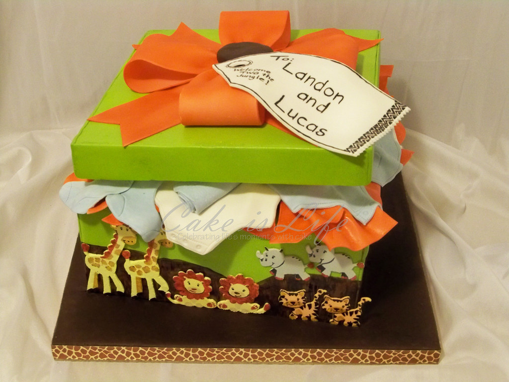 Safari Gift Box Baby Shower Cake