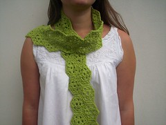 lime green crochet scarf (baban cat) Tags: green scarf handmade limegreen crochet hexagon organiccotton
