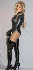 Tight & Shiny In Tall Boots! (kaceycd) Tags: highheels boots vinyl tgirl gloves bodysuit miniskirt pantyhose crossdress spandex lycra tg leotard kinkyboots thighboots platformboots stilettoboots fishnethose sexyboots operagloves