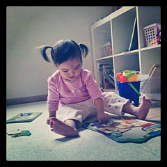 Morning exercise (jccchou) Tags: baby house kids portraits children square one toddler interior caroline x puzzle squareformat walden htc iphoneography instagramapp