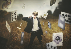 Do You Believe in Magic? (Shelby Robinson) Tags: boy portrait sky grass clouds canon dark rebel 50mm flying king magic ace card f18 teenage t1i deckfield