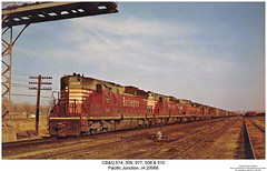 CBQ 514, 509, 977, 508 & 510 (Robert W. Thomson) Tags: railroad train diesel railway trains iowa locomotive trainengine geep emd gp30 cbq sd24 chicagoburlingtonandquincy fouraxle sixaxle pacificjuntion