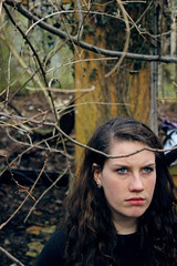 Ashleigh (YasmineBoumaiz) Tags: blue portrait brown green abandoned girl forest photography eyes woods pretty branches portraiture