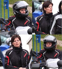 Motorcycle.... (394) (anjaschmidt1982) Tags: girl leather eyes helmet flipoff gear racing chick suit gloves ladys motorcycle protective edition dressed ari visor lay shoei fullface schuberth