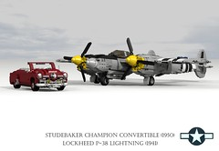 Lockheed P-38 Lightning (1941) and Studebaker Champion Convertible (1950) (lego911) Tags: auto classic car plane airplane model europe fighter lego pacific render aircraft air wwii champion indiana convertible aeroplane 1950s studebaker lightning bomber lockheed challenge 1950 1941 spinner cad 79 lugnuts povray moc softtop p38 ldd usaaf miniland turbosupercharge lego911 lugnutsgoeswing
