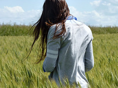 hair in the wind (secretheart.) Tags: blue sky green colors clouds hair wind clothes fields thegirlisme