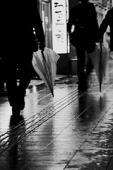 black suits and plastic umbrellas (StephenCairns) Tags: bridge blur men wet rain night highcontrast afterwork nightscene umbrellas gifu rainyseason wetpavement meninblack canon50d meninblacksuits 70200mmf4isusm plasticumbrellas